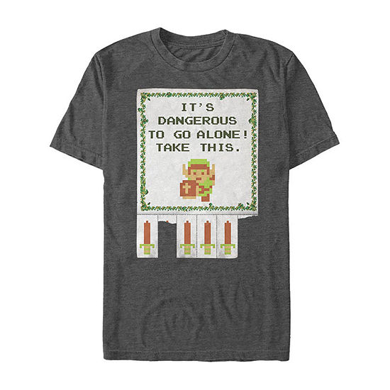 Slim It'S Dangerous To Go Alone Quote Mens Crew Neck Short Sleeve Zelda Graphic T-Shirt