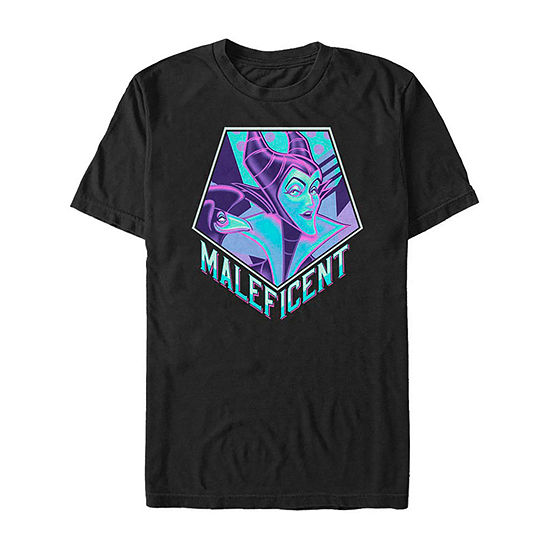 Slim Neon Maleficent Mens Crew Neck Short Sleeve Sleeping Beauty Graphic T-Shirt