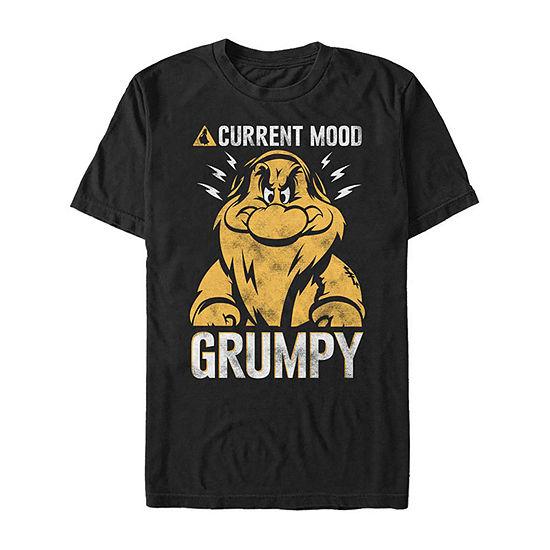 Slim Current Mood Grumpy Mens Crew Neck Short Sleeve Seven Dwarfs Graphic T-Shirt
