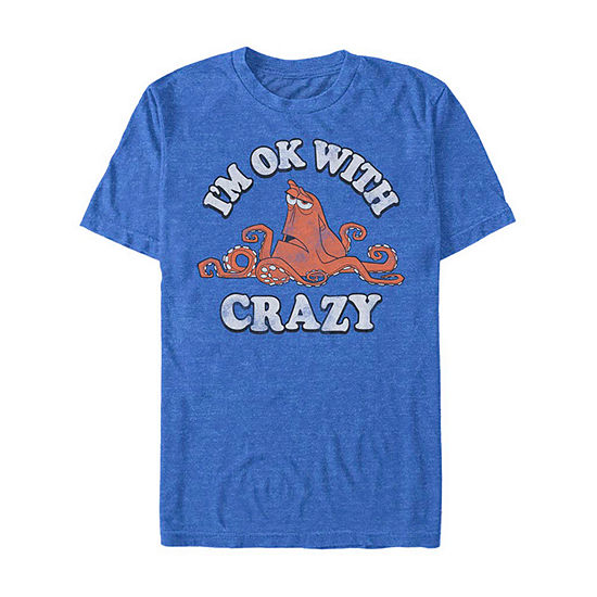 Hank I'M Ok With Crazy Mens Crew Neck Short Sleeve Finding Dory Graphic T-Shirt-Slim