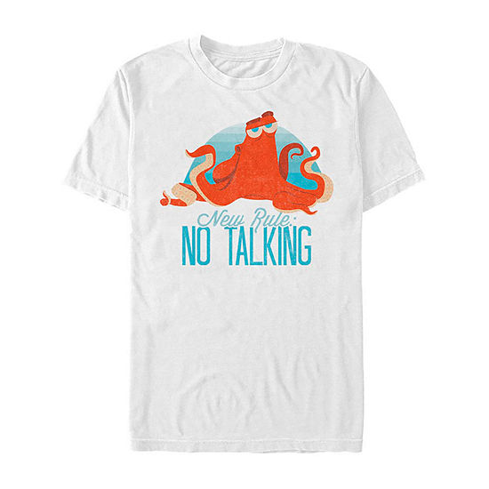 Slim Hank No Talking Mens Crew Neck Short Sleeve Finding Dory Graphic T-Shirt