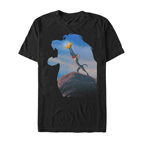Slim Rafiki Lifts Baby Simba In Mufasa Silhouette Mens Crew Neck Short Sleeve The Lion King Graphic T-Shirt