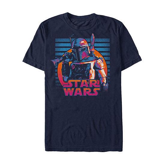 Slim Neon Boba Fett Mens Crew Neck Short Sleeve Star Wars Graphic T-Shirt