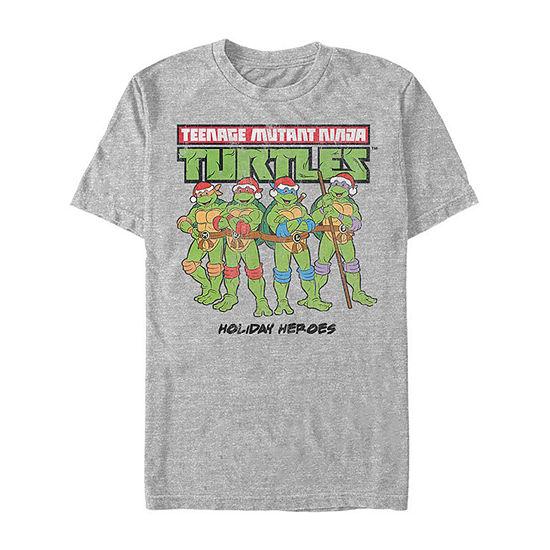 Slim Holiday Heros Mens Crew Neck Short Sleeve Teenage Mutant Ninja Turtles Graphic T-Shirt