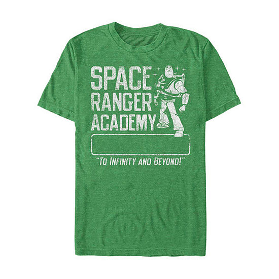Slim Buzz Lightyear Space Ranger Academy Mens Crew Neck Short Sleeve Toy Story Graphic T-Shirt