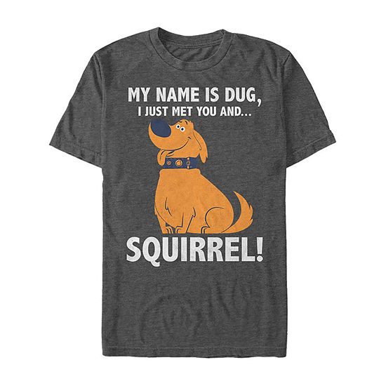 Up Dug The Dog Squirrel Obsessed Mens Crew Neck Short Sleeve Graphic T-Shirt-Slim