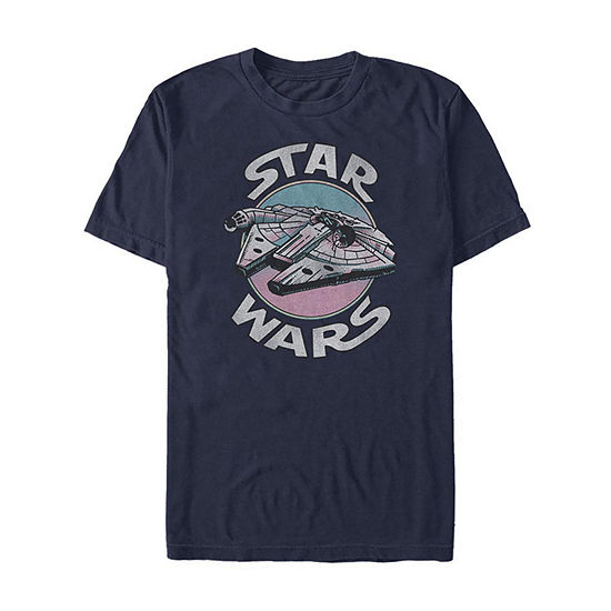 A New Hope Millennium Falcon Mens Crew Neck Short Sleeve Star Wars Graphic T-Shirt-Slim