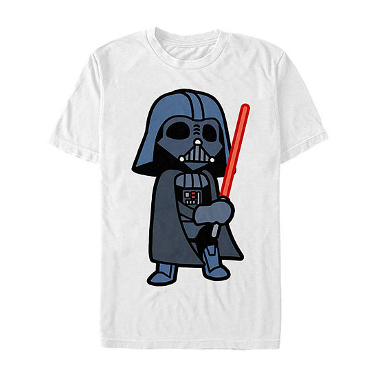 Slim Cute Darth Vader Lightsaber Cartoon Mens Crew Neck Short Sleeve Star Wars Graphic T-Shirt