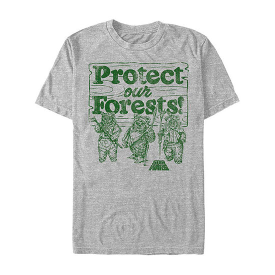 Slim Ewoks Protect Our Forests Mens Crew Neck Short Sleeve Star Wars Graphic T-Shirt