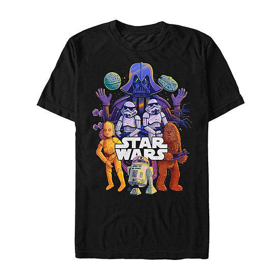 Slim Cartoon Galaxy Group Mens Crew Neck Short Sleeve Star Wars Graphic T-Shirt
