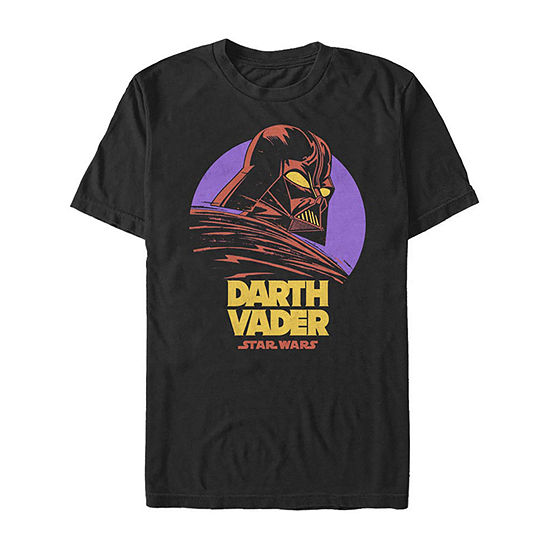 Darth Vader Purple Moon Cartoon Mens Crew Neck Short Sleeve Star Wars Graphic T-Shirt-Slim
