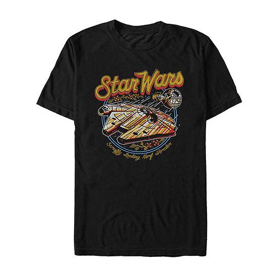 Millenium Falcon Mens Crew Neck Short Sleeve Star Wars Graphic T-Shirt-Slim