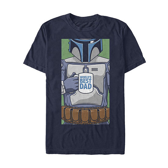 Slim Boba Fett World'S Best Dad Coffee Mug Mens Crew Neck Short Sleeve Star Wars Graphic T-Shirt