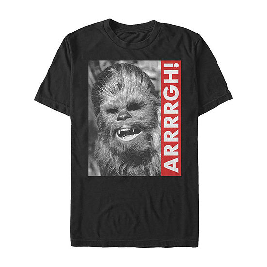 Slim Chewbacca Rebel Yell Mens Crew Neck Short Sleeve Star Wars Graphic T-Shirt