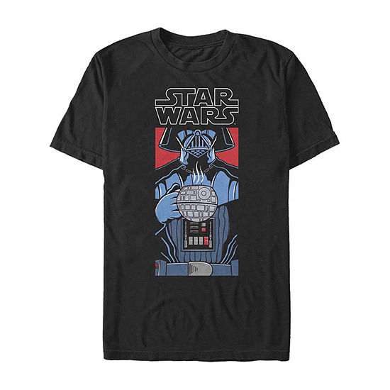 Darth Vader Death Star Coffee Mens Crew Neck Short Sleeve Star Wars Graphic T-Shirt