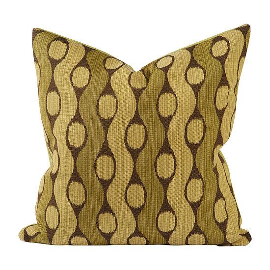 Vesper Lane Olive Green Ikat Square Throw Pillow