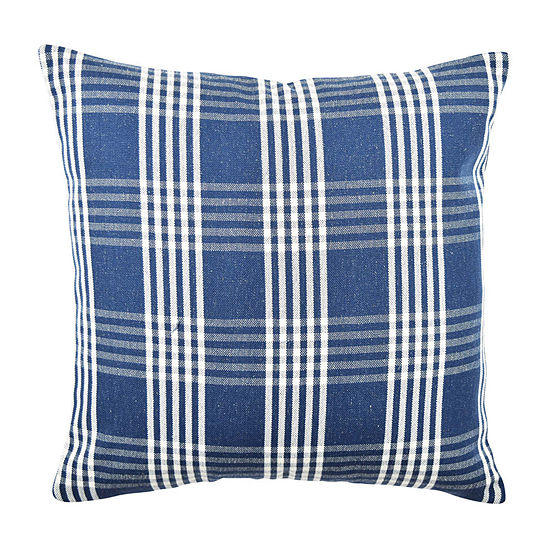 Vesper Lane Blue And White Basket Weave Square Throw Pillow