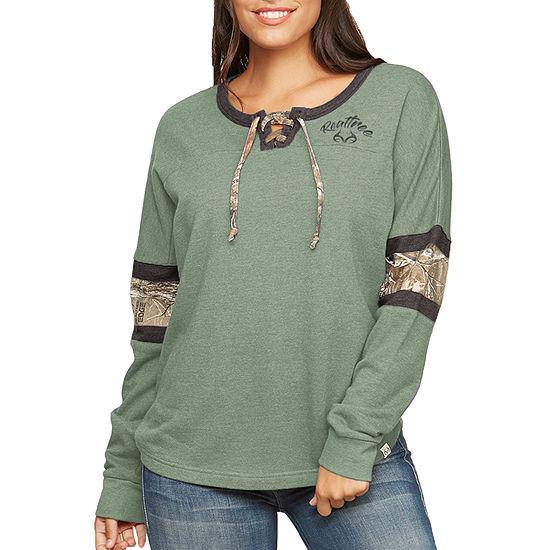 Realtree Womens Split Crew Neck Long Sleeve Sweatshirt
