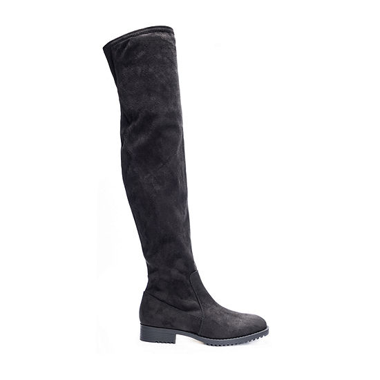 CL by Laundry Womens Frbni-001 Micro Over the Knee Flat Heel Boots