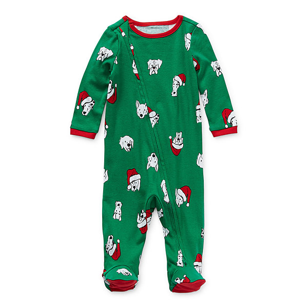 North Pole Trading Co. Happy Holidays Unisex Long Sleeve Knit Footed Pajamas