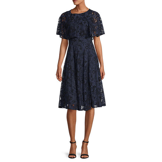 Danny & Nicole Short Sleeve Popover Floral Lace Fit & Flare Dress