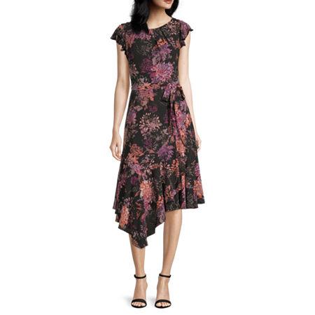 80s Dresses | Casual to Party Dresses Danny  Nicole Short Sleeve Floral Fit  Flare Dress 10  Black $37.49 AT vintagedancer.com