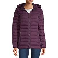 St. John's Bay Hooded Packable Lightweight Puffer Jacket