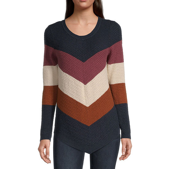 by&by-Juniors Womens Round Neck Long Sleeve Chevron Pullover Sweater
