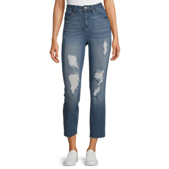 Ymi - Juniors Womens High Rise Ripped Straight Leg Jean