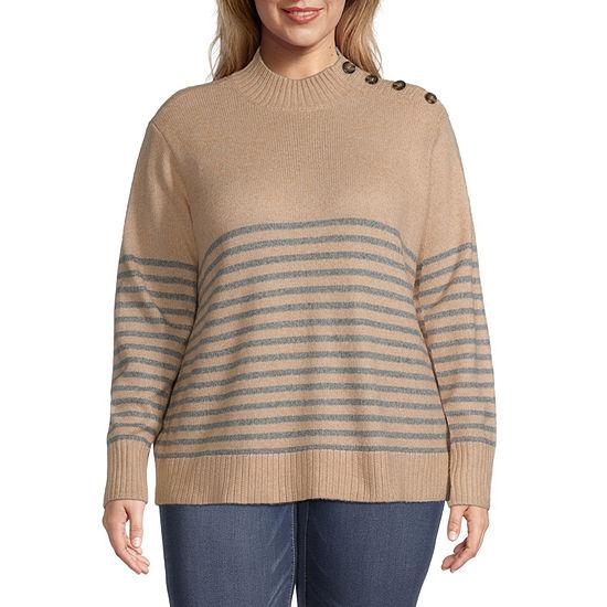 St. John's Bay-Plus Button Side Womens Mock Neck Long Sleeve Pullover Sweater