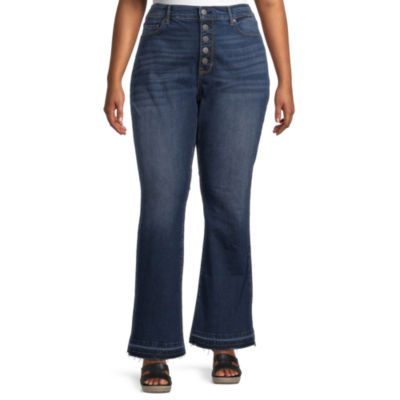 a.n.a-Plus Womens High Rise Released Hem Flare Jean
