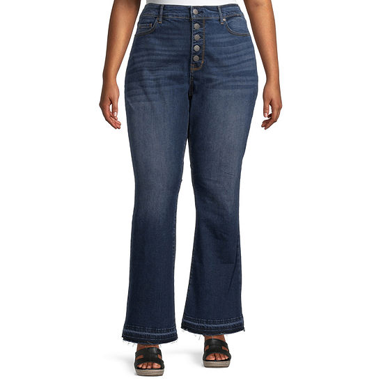 a.n.a-Plus Womens High Rise Released Hem Flare Jean