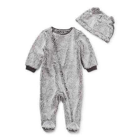 North Pole Trading Co. It's Cold Outside Unisex Long Sleeve Knit Footed Pajamas, 18 Months , Gray