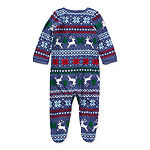 North Pole Trading Co. Fairisle Baby Unisex Knit Long Sleeve One Piece Pajama