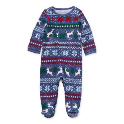 North Pole Trading Co. Fairisle Baby Unisex Knit Long Sleeve One Piece Pajama