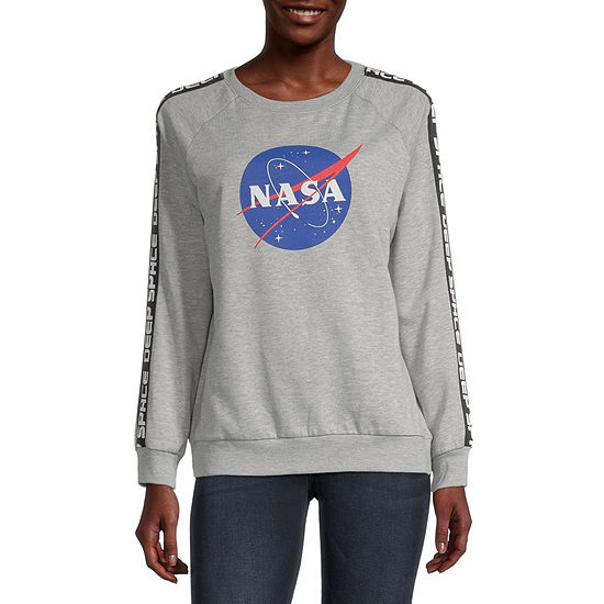 Juniors Nasa Womens Crew Neck Long Sleeve Sweatshirt