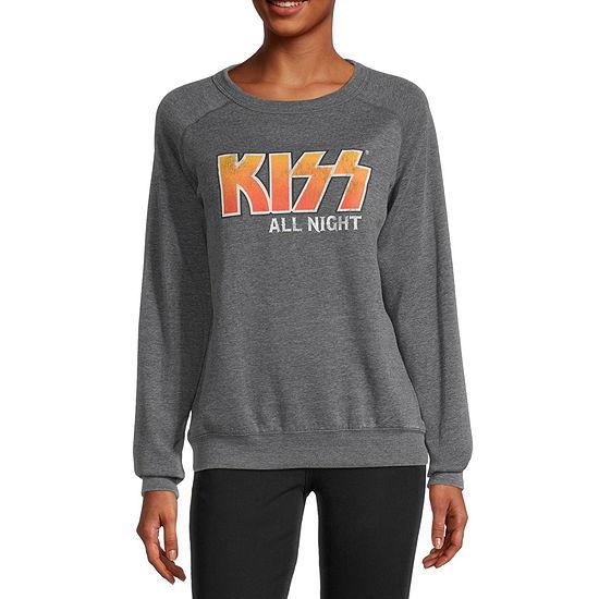 Juniors Kiss Womens Crew Neck Long Sleeve Sweatshirt