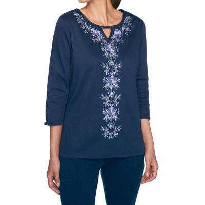 Alfred Dunner Wisteria Lane-Womens Keyhole Neck 3/4 Sleeve T-Shirt