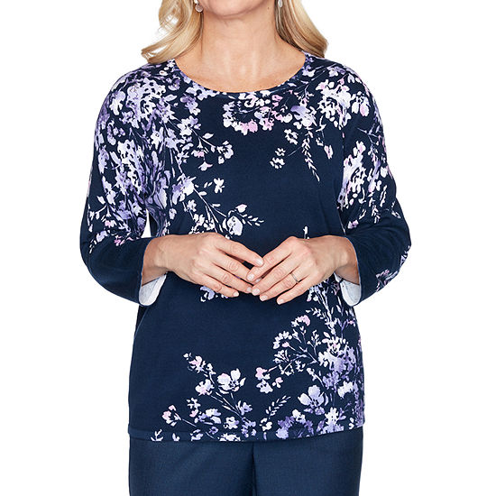 Alfred Dunner Wisteria Lane Womens Round Neck 3/4 Sleeve Pullover Sweater