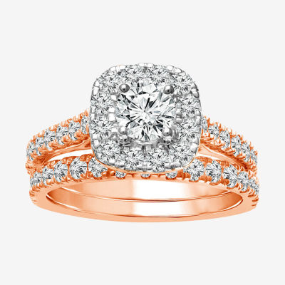 Womens 2 CT. T.W. Genuine White Diamond 10K Rose Gold Halo Bridal Set