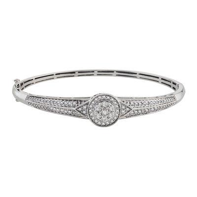 diamond blossom 1 CT. T.W. Diamond 14K White Gold Cluster Bangle Bracelet