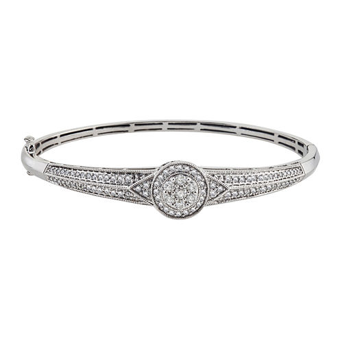 diamond blossom 1 CT. T.W. Diamond 14K White Gold Cluster Bangle Bracelet