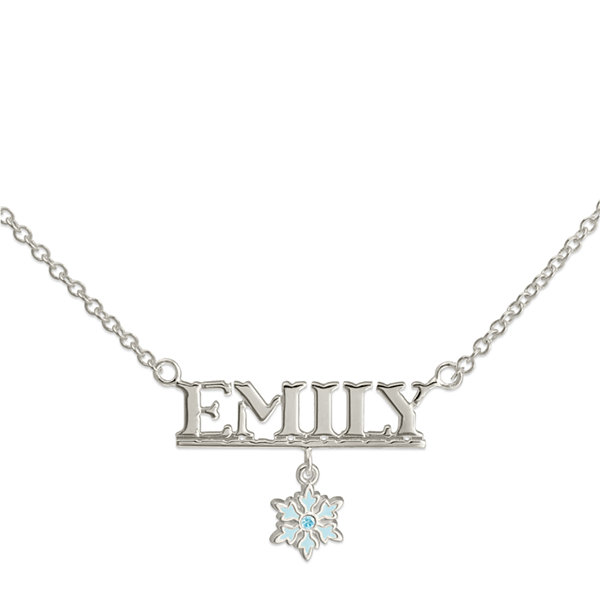 Disney Frozen Personalized Sterling Silver Snowflake Snowflake Name Necklace