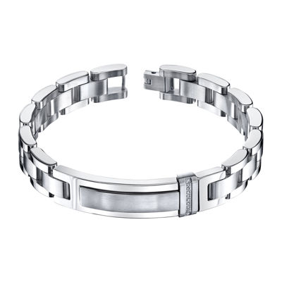 Mens 1/10 CT. T.W. Diamond Stainless Steel ID Bracelet