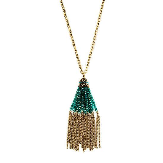 Bijoux Bar Green 30 Inch Link Pendant Necklace