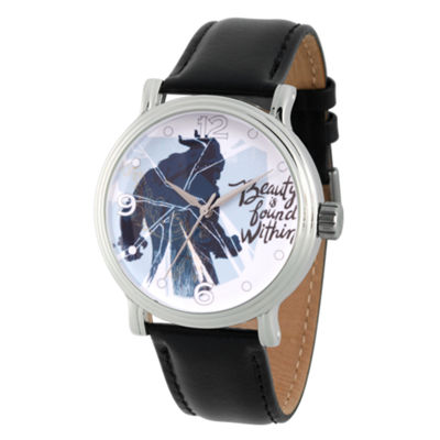 Disney Beauty and the Beast Mens Black Strap Watch-Wds000309