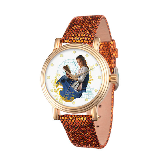 Disney Beauty and the Beast Womens Red Leather Strap Watch-Wds000310