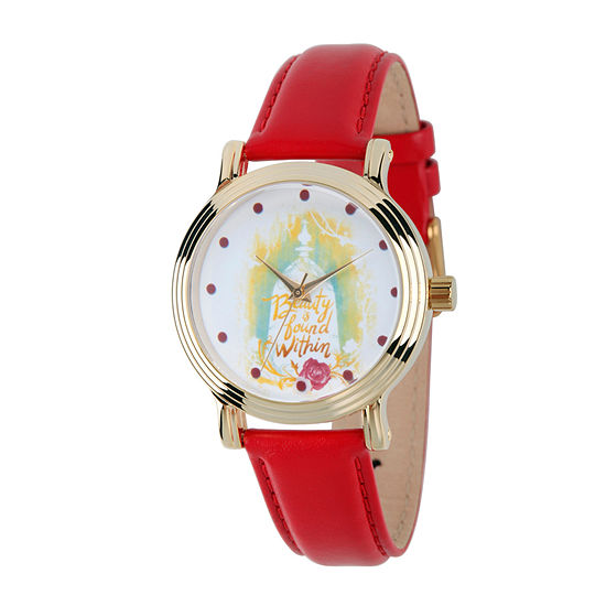 Disney Beauty and the Beast Womens Red Leather Strap Watch-Wds000311