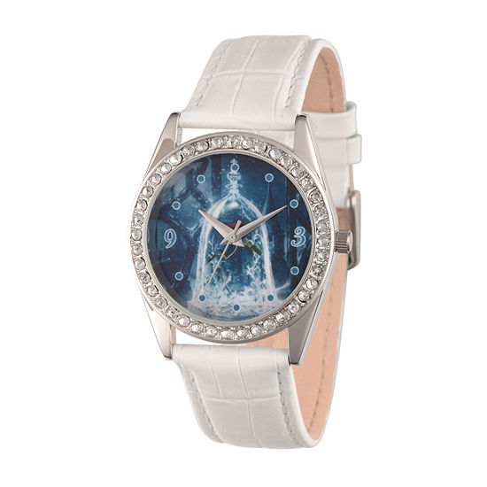 Disney Beauty and the Beast Womens White Leather Strap Watch-Wds000312