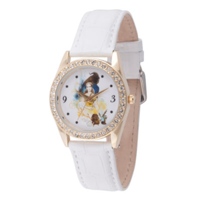 Disney Beauty and the Beast Womens White Strap Watch-Wds000313